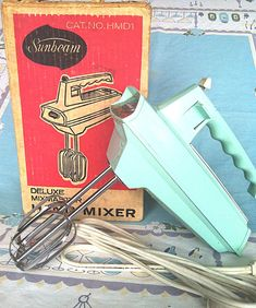 Vintage 1950s  Sunbeam Mixmaster Turquoise Aqua Hand Mixer with Original Box Vintage Kitchen  Retro Housewife
