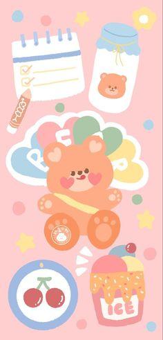 Cute Pastel Wallpaper, Soft Wallpaper, Bear Wallpaper, Cute Patterns Wallpaper, Cute Anime Wallpaper, Wallpaper Iphone Cute, Galaxy Wallpaper, Kawaii Doodles, Cute Doodles