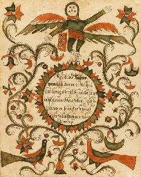 PENNSYLVANIA SCHOOL, dated 1797   Fraktur   Centering a red and green sawtooth roundel inscribed, XX, below an angel figure bearing a banner dated 1797, the whole flanked by scrolling foliate vines, all above two stlylized red and green birds  watercolor and ink on paper