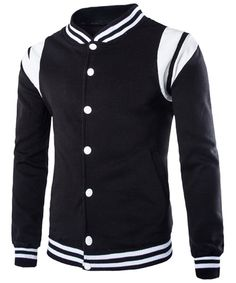 Slimming Stylish Stand Collar PU Leather Spliced Striped Hem Long Sleeves Flocky Sweatshirt For Men