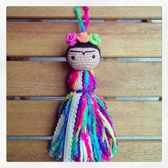 Frida Crochet Dolls, Crochet Baby, Knit Crochet, Weaving Projects, Crochet Projects, Crochet Keychain, Crochet Necklace, Fabric Yarn, Crochet Cross