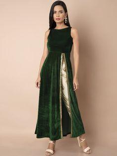 Buy women Green Side Slit Velvet Maxi Tunic online in India. Designer Party Wear Dresses, Kurti Designs Party Wear, Indian Designer Outfits, Lehenga Designs, Indian Outfits, Indian Wedding Outfits, Indian Gowns Dresses, Pakistani Dresses, Stylish Dresses