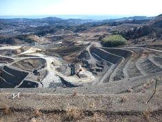 中井町古怒田へ下る農道の途中。スタートから12.3km。高台から採石場を撮影。以前からグーグルマップで気になっていた場所