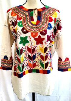 Vintage Style Blouse Huipil MEXICAN  Art Cream  Symbols Floral Corn Heavily Embroidered One Size may fit up to XL 100% Cotton Women's by MariabonitaCreations on Etsy