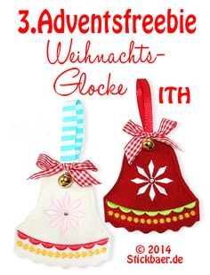 Stickbär Blog Freebie Christmas bell