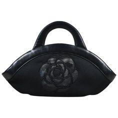 bbaa8284a0fb Chanel Black Canvas Leather Trim Camellia Flower & 'CC' Mesh Handle Bag  Chanel Negro