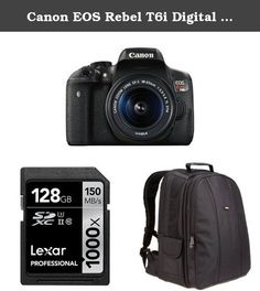 Canon EOS Rebel T6i Digital SLR with EF-S 18-55mm Lens + AmazonBasics DSLR Bag and 128 GB Lexar Memory Card. Canon EOS Rebel T6i Digital SLR with EF-S 18-55mm IS STM Lens - Wi-Fi Enabled. Lexar Professional 1000x 128GB SDXC UHS-II/U3 Card (Up to 150MB/s read) w/Image Rescue 5 Software LSD128CRBNA1004. AmazonBasics DSLR and Laptop Backpack - Gray interior.