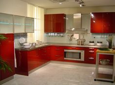 Cool Modern Kitchen With No Windows But Full Of Light : Cool Modern Kitchen With Glossy Red White Wall And Kitchen Table Sink Oven Stove Cab...