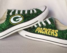 Custom painted Green Bay Packers converse shoes, with swarovski crystal rhinestone embellishment