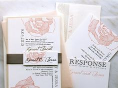 Ruffled Romance - Wedding Invitation, Romantic Floral & Lace, Peach, Ivory - Purchase for a Sample. $6.25, via Etsy.