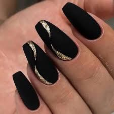 Matte Black Nails Stiletto many Matte Black Coffin Nails With Gold her Clear Pink Matte Nails Acrylic Nail Designs Glitter, Acrylic Nails Coffin Glitter, Black Coffin Nails, Black Nail Designs, Nail Art Designs, Nails Design, Glitter Nails, Acrylic Gel, New Years Nail Designs