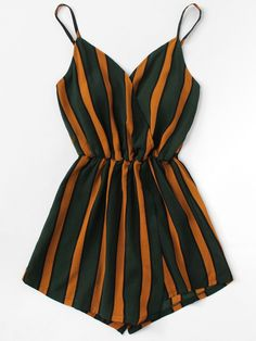 Shop Vertical Striped Cami Romper at ROMWE, discover more fashion styles online. Shorts Outfits For Teens, Casual Skirt Outfits, Cute Comfy Outfits, Crop Top Outfits, Teen Fashion Outfits, Modern Outfits, Simple Outfits, Short Outfits, Cute Fashion