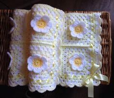 Yummy Handmade ,Crochet Flower Petal Baby Blanket with Ribbon