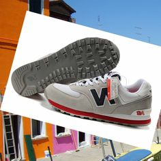 Italy New Balance 574 Men's Shoes Grey / Red / Black Buy Original HOT SALE!HOT PRICE!