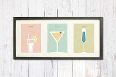 Drinks, Dining Room Art Print, Digital Print, Retro Art for  Dining Room, Kitchen Art, Dorm Decor, Set of 3 prints, 4 3/4'' x 6 3/4''