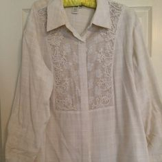 Gorgeous detailed creamy beige blouse. Long sleeve blouse . Gorgeous detailed inset. Gently worn . Excellent condition Coldwater Creek Tops Tees - Long Sleeve