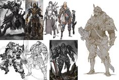Ham Sung-choul - old rough concept sketch. Game Character Design, Character Concept, Game Design, Character Art, Concept Art, Fantasy Armor, Medieval Fantasy, Dark Fantasy, Science Fiction Art