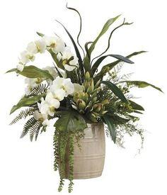 Lifelike White Phalaenopsis Orchids With Staghorn Ferns Silk Floral Arrangement Diy Flowers, Beautiful Flowers, Fake Flowers, Wedding Flowers, Artificial Orchids, Artificial Flower Arrangements, Diy Silk Flower Arrangements, Silk Plants, Faux Plants