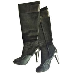 66a86a1b082 These Tod s Black Pony Hair Leather Knee High Boots Booties Size US Regular  (M