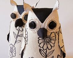 Soft Sculpture Fiber Art Woodland Owl Textile Art Bird Black and White Upholstery Fabric Luxury Gift Free Shipping