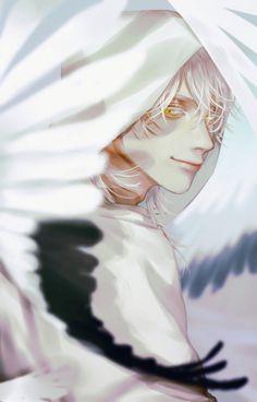 Male drawing with light hair and birds around Anime Boys, Chica Anime Manga, Manga Boy, Boy Illustration, Character Illustration, Illustrations, Fantasy Character, Character Art, Touken Ranbu
