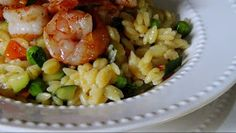 EZ Gluten Free: Pan Seared Shrimp & Confetti Veggie Orzo
