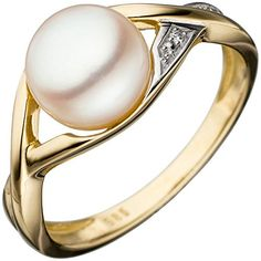 SIGO Ladies Ring 585 Gold Yellow Gold Bicolor 1 Freshwater Pearl Gold Ring Pearl Ring Order now at: Womens Jewelry Rings, Fine Jewelry, Women Jewelry, Wessel, Bangles, Bracelets, Pearl Ring, Pearl White, White Gold