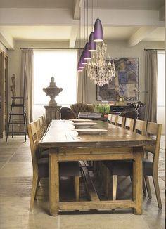 I'm not a fan of the purple lamps, but I NEED a table this big