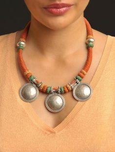 Antique Beaten Pendant Necklace