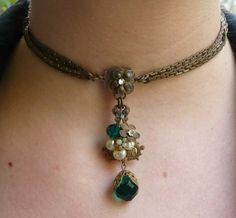 Miriam Haskell Necklace Earrings / Signed / Pearls, Rhinestones, Green Stones Set on Etsy, £200.49