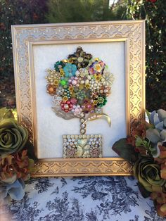 Glitz and Glamour Stories Immortalized in Gems! Boudoir Jewelry Mosaics at www.vintagejewelcreations.com