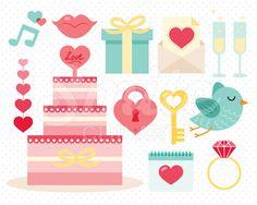 Aqua Wedding Clip Art for Commercial Use - 00029