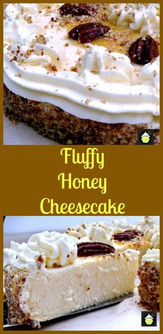 Fluffy Honey Cheesecake. A wonderful soft and dreamy cheesecake topped with Honey roasted pecans too! #dessert #pecans