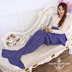 Handmade Knitted Mermaid Flounced Blanket Sleep Wrap
