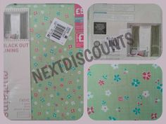 "Next Green Ditsy Floral Pleat Blackout Curtains 117x137cm (46""x54"") **FREE P&P**"