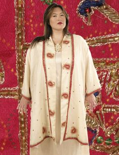 Calf-Length Kimono Ivory Fuschia Jeweled Sari Silk Wearable Art 1379 Sizes 30 - 34 mother of the bride, special occasion, elegant, Mother Of The Bride Jackets, Mother Of The Bride Dresses Long, Day To Night Outfits, Plus Size Kimono, Kimono Coat, Formal Dresses With Sleeves, Plus Size Formal, Dresser, Beaded Jacket