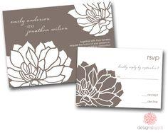 SAMPLE SET Modern Lotus Wedding Invitation. $3.00, via Etsy.