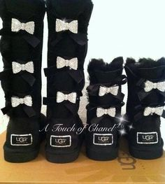 Short Black Crystallized Bailey Bow Ugg Boot via atouchofchanel. Click on the image to see more!
