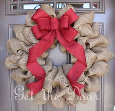 Burlap Christmas Wreath, Christmas wreath, Burlap wreath, Burlap wreath with elegant Red Bow. $50.00, via Etsy.