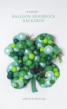 Balloon shamrock backdrop for St. Patrick's Day