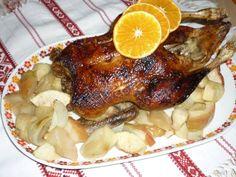 Egészben sült kacsa, vele sült almával Pizza, Chicken, Food, Essen, Meals, Yemek, Eten, Cubs
