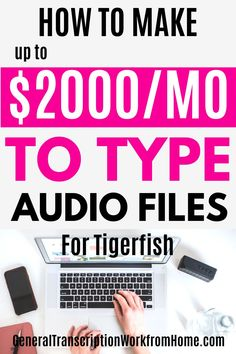 Tigerfish Transcribing does NOT require previous transcription experience and accepts beginners for general and legal transcription work from home. This is a good transcription company to work for. Transcription work includes interviews, law enforcement, documentaries and focus groups. They pay by words transcribed. #transcription #transcriptionwork #transcriptionjobs #onlinejobs #remotejobs #workathomejobs #workfromhome #sidehustles Work From Home Moms, Make Money From Home, Way To Make Money, Make Money Online, Transcription Jobs From Home, Transcription Jobs For Beginners, Online Side Jobs, Best Online Jobs, Typing Jobs From Home