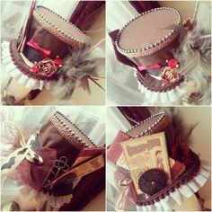Brown and Red Steampunk Mini Top Hat by NoFlutter.deviantart.com on @deviantART
