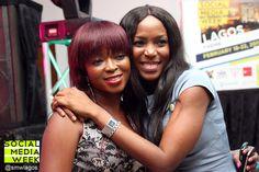 Social Media Week, Lagos Day 1: Picture taking with Linda Ikeji (@lindaikeji) and Tosin Ajibade (@Olorisupergal)