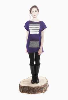 Jennifer Fukushima - Apiomorpha Tunic - Purple - Recycled Wool & Cotton - Stripe - Herringbone - Patchwork - Eco Fashion - Sweater Knit