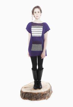 Jennifer Fukushima - Apiomorpha Tunic - Purple - Recycled Wool & Cotton - Stripe - Herringbone - Patchwork - Eco Fashion - Sweater Knit