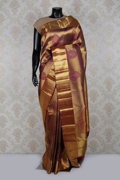 Lovable antique #gold multi color pure #kanchipuram silk zari weaved #saree -SR14030