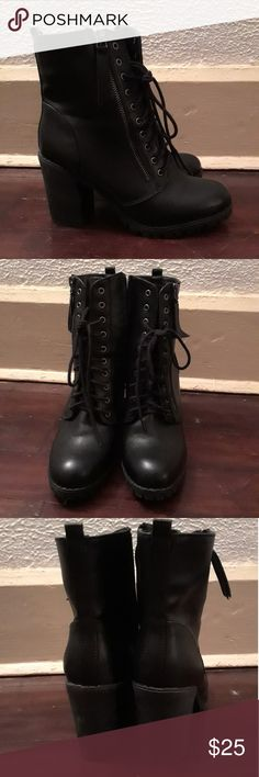 Soda brand high-heeled boots Soda brand. 3 inch heel. Worn twice. Zipper on the side for easy on and off. Size 9 Soda Shoes Heeled Boots