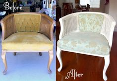 beautiful makeover of a cane chair. from Brittany Makes blog. love it.