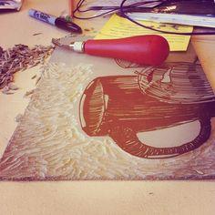 Linocut Still Life by Kendra MacKendrick, via Behance